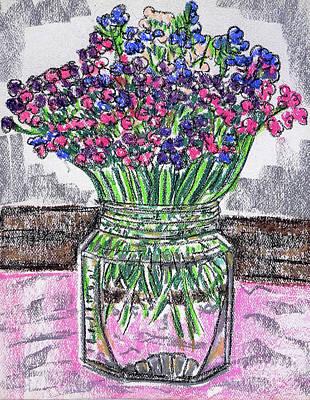 Flowers In Glass Jar Art Print by Gerhardt Isringhaus