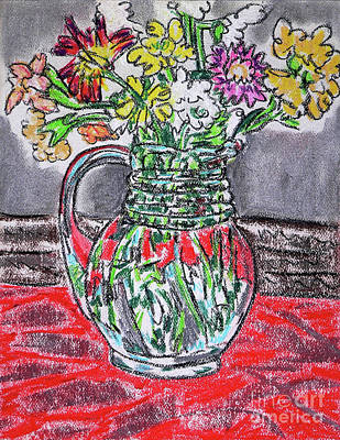 Drawing - Flowers In Glass Pitcher by Gerhardt Isringhaus