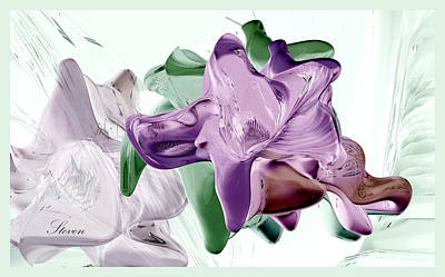 Digital Art - Flowers In Glass by Steven Lebron Langston