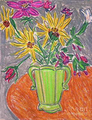 Drawing - Flowers In Green Vase by Gerhardt Isringhaus