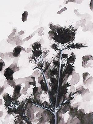 Painting - Flowers In Grey by Liz Adkinson