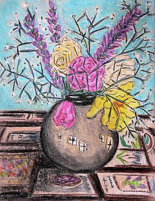 Drawing - Flowers In Grey Vase by Gerhardt Isringhaus