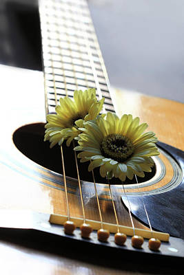 Flowers In Guitar Strings Art Print