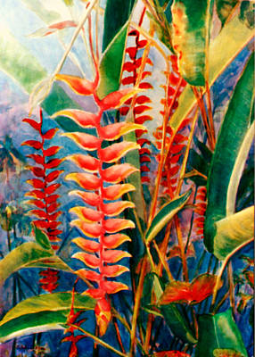 Puerto Rico Painting - Flowers In My Garden by Estela Robles