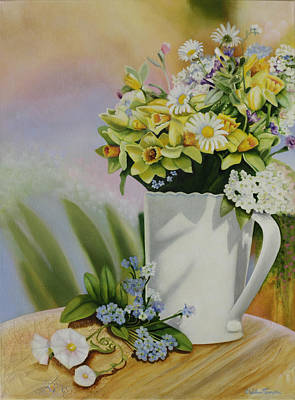 Still Life With Daffodils Painting - Bella Bouquet by William T Templeton