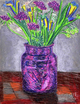Drawing - Flowers In Purple Vase by Gerhardt Isringhaus