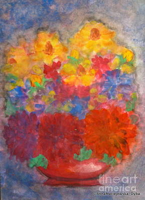 Painting - Flowers In Red Vase by Anna Folkartanna Maciejewska-Dyba