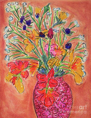 Drawing - Flowers In Red Vase by Gerhardt Isringhaus