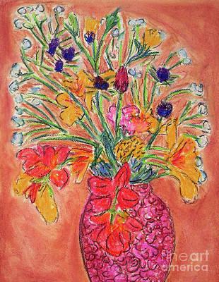Flowers In Red Vase Art Print by Gerhardt Isringhaus