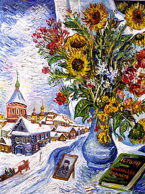 Roussimoff Wall Art - Painting - Flowers In Russian Winter by Ari Roussimoff