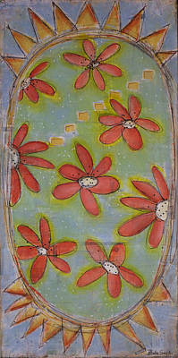 Cradle Board Painting - Flowers In Space by Paula Snyder