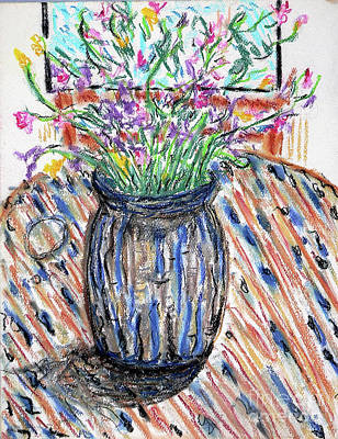 Drawing - Flowers In Stripped Vase by Gerhardt Isringhaus