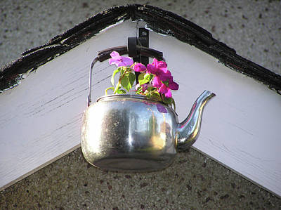 Photograph - Flowers In Teapot by Richard Mitchell