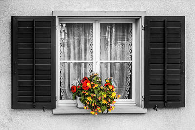 Photograph - Flowers In The Black And White Window by Debra and Dave Vanderlaan
