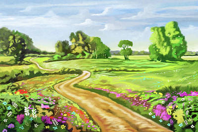 Painting - Flowers In The Field    by Anthony Mwangi