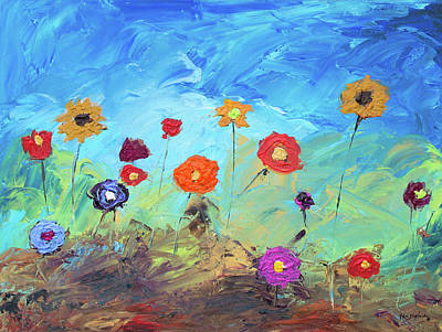 Flowers In The Meadow Modern Impressionistic Painting Original