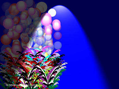 In The Spotlight Digital Art - Flowers In The Spotlight by Pom Oz