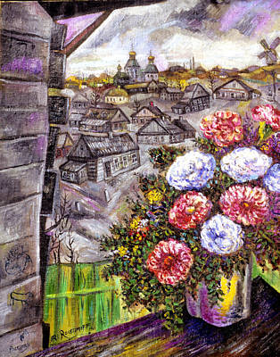 Roussimoff Wall Art - Painting - Flowers In The Village by Ari Roussimoff