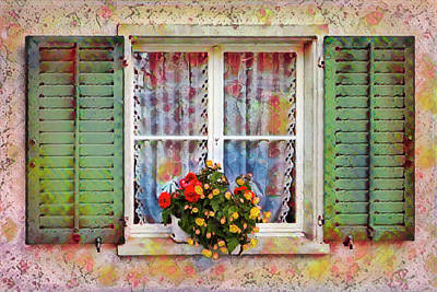 Photograph - Flowers In The Window by Debra and Dave Vanderlaan