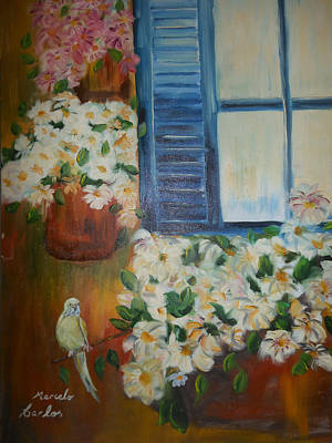 Marcelo Painting - Flowers In The Window by Marcelo Carlos