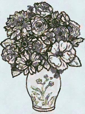 Blue Hues - Flowers In Vase by Catherine Lott