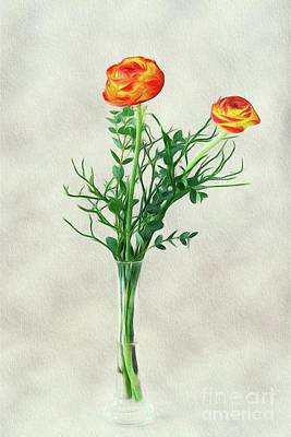 Floral Royalty-Free and Rights-Managed Images - Flowers in Vase by Sarah Kirk