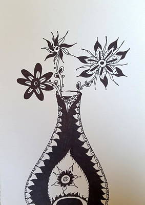 Drawing - Flowers In Vase by Steven Stutz