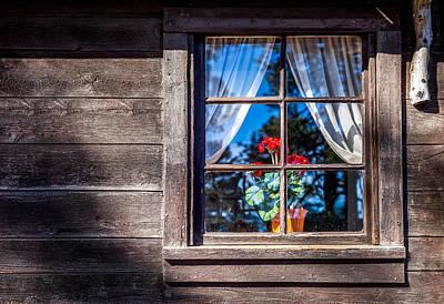 Cabin Window Photograph - Flowers In Window by Jon Manjeot