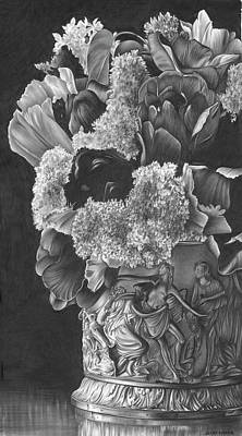 Still Life Drawings - Flowers by Jerry Winick