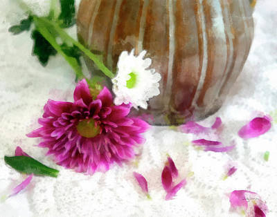 Photograph - Flowers, Lace And A Vase by Betty Denise