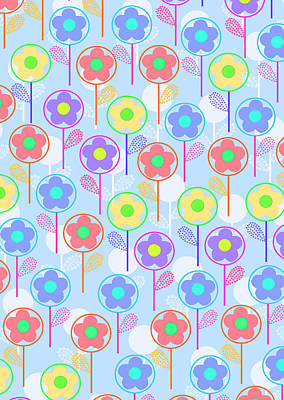 Repeating Digital Art - Flowers by Louisa Knight