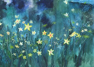 Wa Painting - Flowers N Breeze by Anil Nene