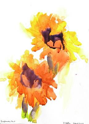 Sunflower Watercolor Painting - Sunflowers Flowers No 7 by Virgil Carter