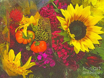 Photograph - Flowers Of Fall - Sunflower And Baby Pumpkins - Cropped by Miriam Danar
