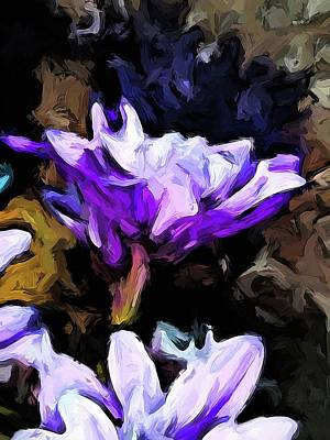Digital Art - Flowers Of Lavender And White With Reflection by Jackie VanO