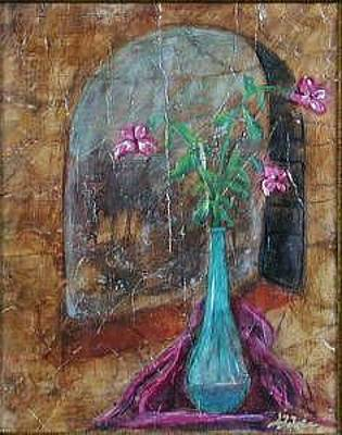 Painting - Flowers Of Old A Nouveau-fresco Paintings by Judy Loper