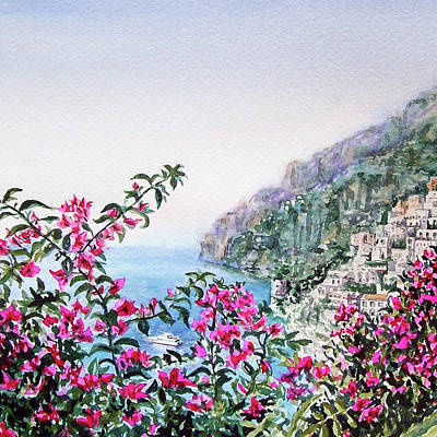 Painting - Flowers Of Positano Amalfi Coast  by Irina Sztukowski