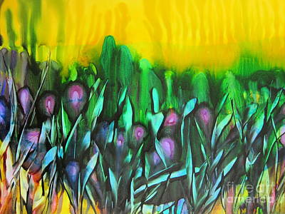Lino Painting - Flowers Of The Land by Susan Parsley
