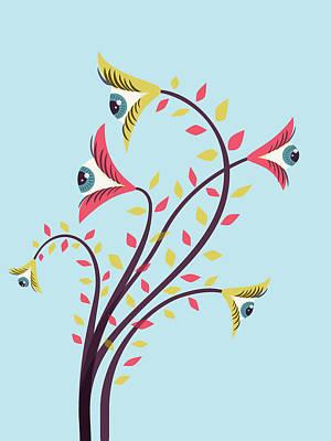 Flowers Of Watching Eyes Art Print