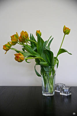 Photograph - Flowers On A Black Table by John Meader
