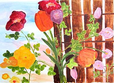 Art Print featuring the painting Flowers On A Fence by Sandy McIntire