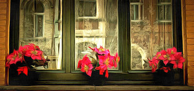 Amsterdam Digital Art - Flowers On A Ledge by Anthony Caruso
