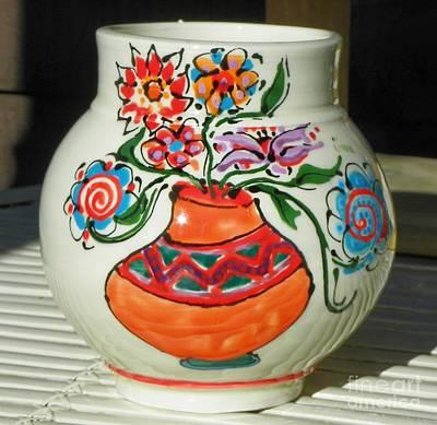 Ceramic Art - Flowers On A Pot by Lisa Dunn