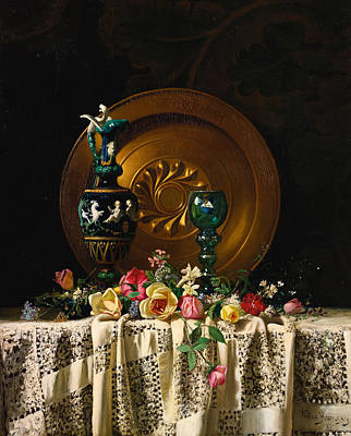 Bronze Plates Painting - Flowers On A Table by Milne Ramsey