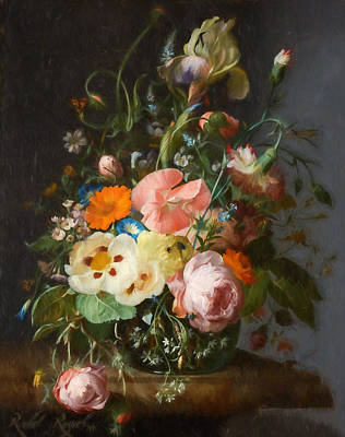 Flower Still Life Mixed Media - Flowers On A Table Top 2 by Rachel Ruysch