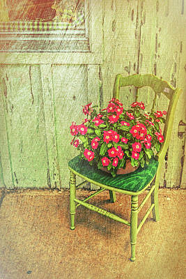 Art Print featuring the photograph Flowers On Green Chair by Lewis Mann