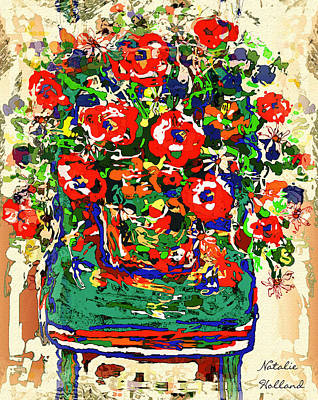 Flowers On Green Chair Art Print by Natalie Holland