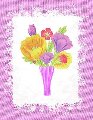 Painting - Flowers On Pink Canvas by Irina Sztukowski