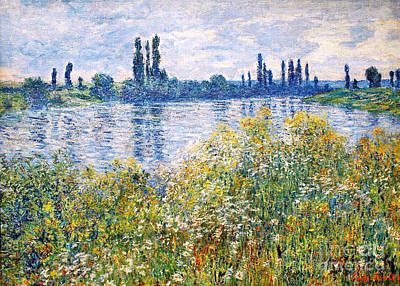 Monet Painting - Flowers On The Banks Of Seine Near Vetheuil by Celestial Images