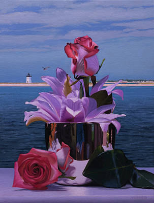 Provincetown Painting - Flowers On The Deck by Tony Chimento